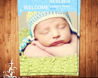 BUY 1 GET 1 FREE Birth Announcement - Neutral Baby Announcement Card - Photoshop Template Instant Download: cardcode-165