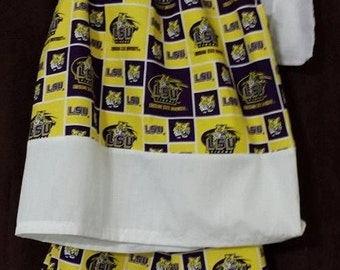 LSU Louisiana State University Pillow-case top and Ruffled pants set.Top is sizes 3 to 8. Adorable and made to order outfit.