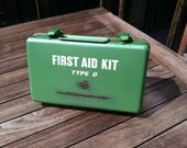 Vintage Bullard First Aid Kit Type D Mid Century Office Industrial Chic Green Metal Storage Man Cave