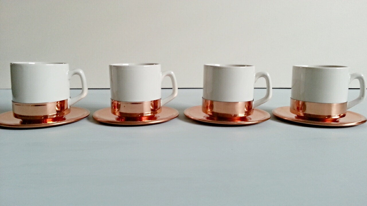 4 Vintage Copper And Porcelain Espresso Cups And Saucers