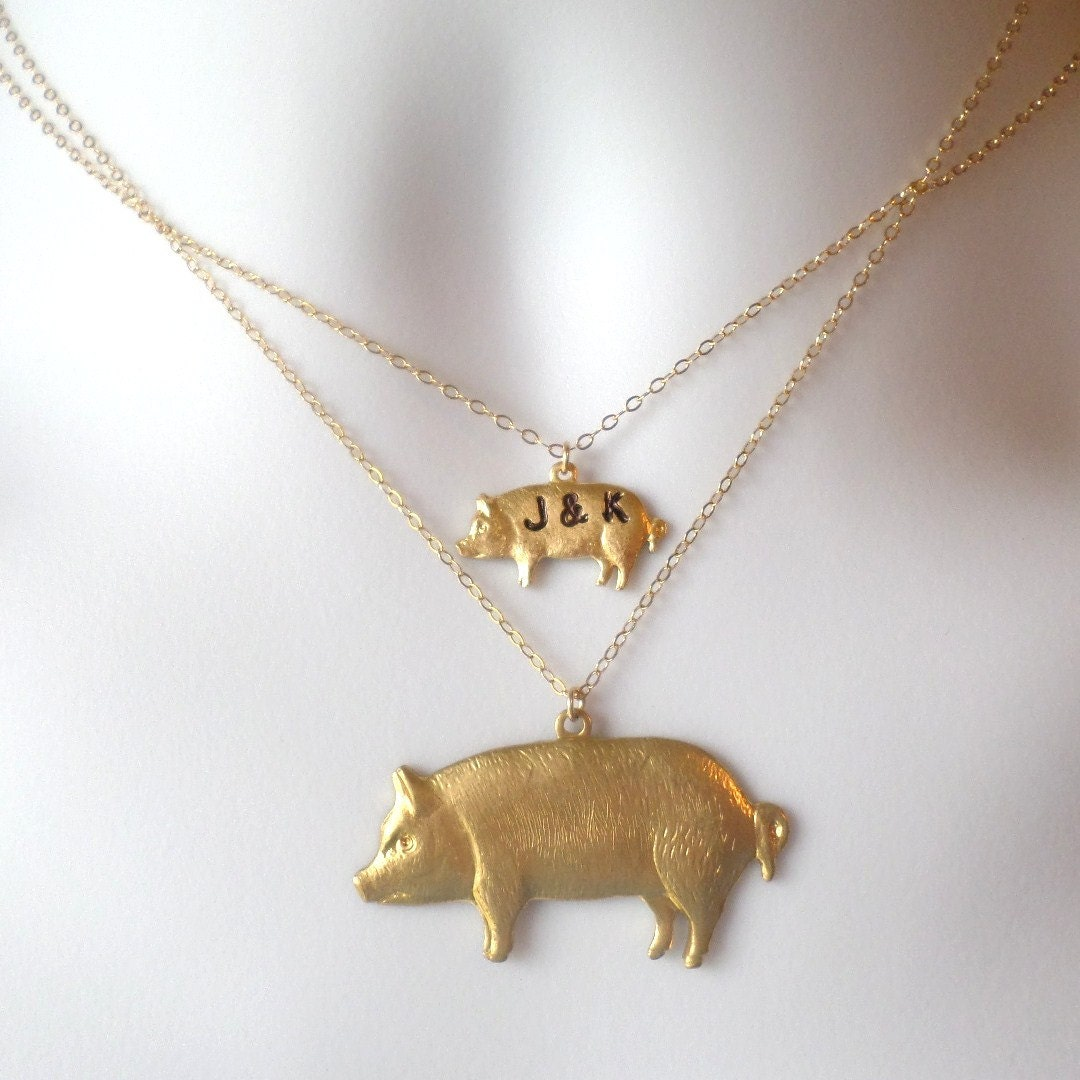 pig necklaces set of two gold pig necklaces pig