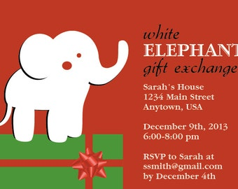 White Elephant Gift Exchange, Christmas Party Invitation White Elephant Christmas