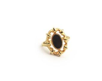 Gold Tone Cabochon Flip Ring - Signed Avon