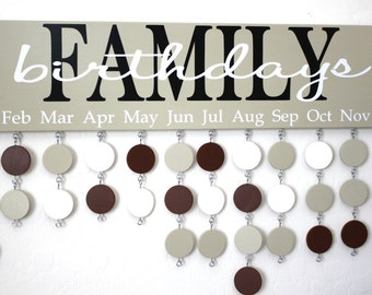 Family Birthday Board Custom Wood Sign - Family Celebrations Board - Family Birthday Calendar Custom Wooden Sign - BDB