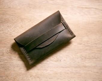 Leather Pocket Wallet - Leaf + FREE personalisation