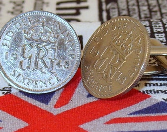 Boxed Pair Vintage British 1948 Lucky Sixpence Six Penny Coin Cufflinks Wedding 69th Birthday Anniversary