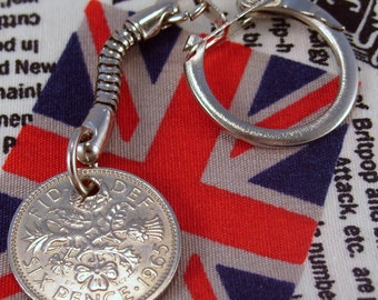 Lucky 1965 6d Sixpence English Coin Keyring Key Chain Fob Queen Elizabeth II