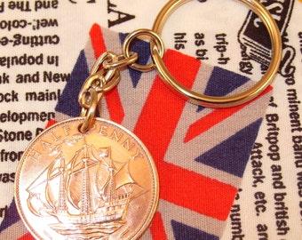 1967 Ha'penny Old Half Penny English Coin Keyring Key Chain Fob Queen Elizabeth II