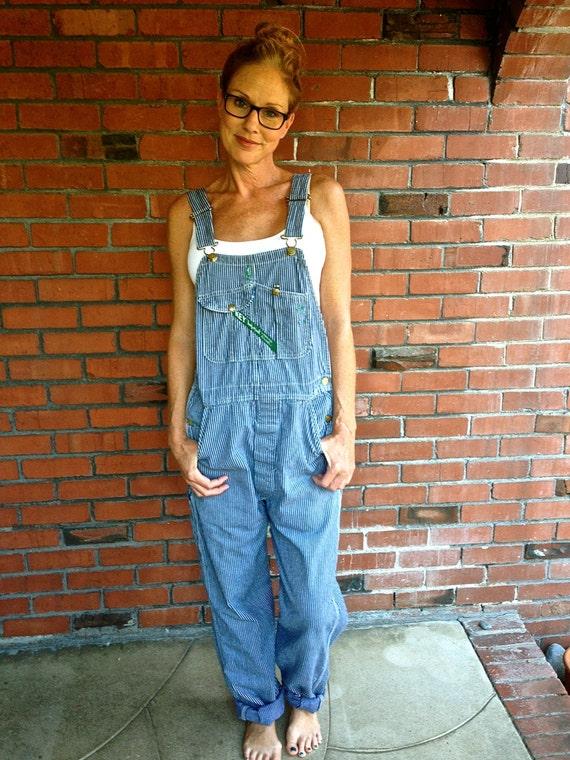 Overalls Are Making A Comeback As The Latest Fashion Trend: 80s Key Imperial Denim Overalls Railroad Stripe Blue White Sz