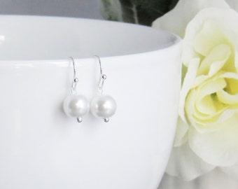 Swarovisk Pearl Dangle Earrings - Bridesmaid Earrings, Bridesmaid Jewelry, Wedding Earrings, Earrings for Mom, Earrings for Her