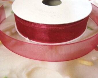 Burgundy Organza Ribbon Trim 5/8 Inch Red Trim 3 yards Wedding Supplies