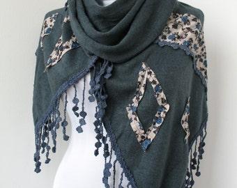 30% OFF SALE - Blue Tricot Fabric Scarf - Lace Fringy Scarf  - Soft Scarf - Cowl Scarf - Shawl Scarf  - 674