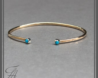 Gold Bracelet, Oval Bracelet, Cuff Oval, Gold Bracelet, Sleeping Beauty, Turquoise Stone, Handmade, Handcrafted, Double Stone,