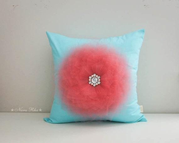 Items similar to Nursery Pillows, Aqua and Coral, Pillow Cover, Aqua and Coral Nursery, Aqua ...