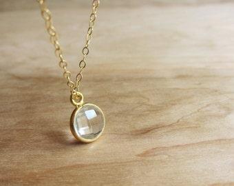 Crystal Quartz and 14k Gold Fill Necklace - Gemstone Jewelry - Quartz Necklace - Stone Necklace - Clear Crystal - Quartz Jewelry