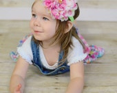 Flower Headband, Lace Flower headband, Lace Flower, Polka Dot Flower headband, Girls Headband, Newborn Headband, 5 inch flower headband