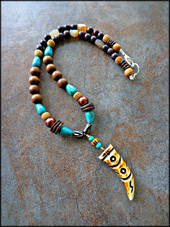 Mens Tribal Necklace Mens Bone Horn Pendant Necklace Mens