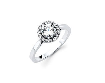14K White Gold with Cubic Zirconias Ring,Dainty,14k,White Gold,Jewelry,Round Shaped,Stylish,Fashionable,Rings,Cubic Zirconia,Dainty Ring