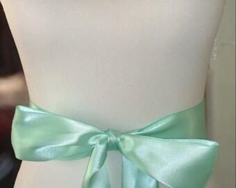Mint Green Wedding Sash- 1.5in or 2.5 Simple Satin Sash- Bridal Belt- Wedding Belt- Green Sash- Plain Sash- Simple Sash- Ready to ship