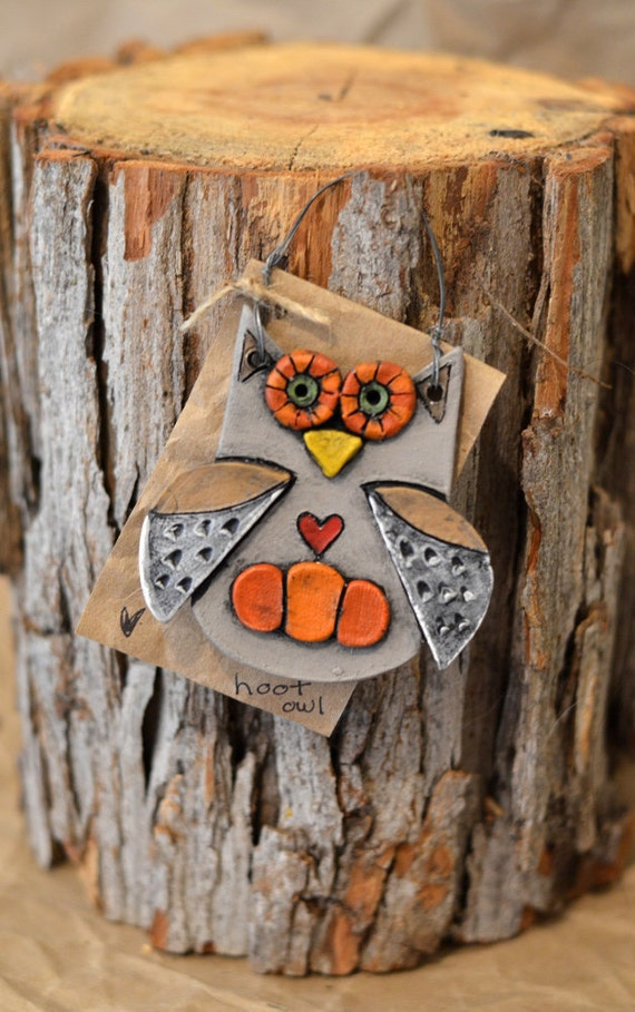 Wall Decor With Clay : Gray orange ceramic clay owl wall hanging ornament gift