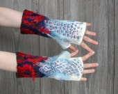 Hand-felted  mittens, felt wool , in white, blue, red and dark gray, decorated with silk fabric, silk fibers and natural wool curls. OOAK