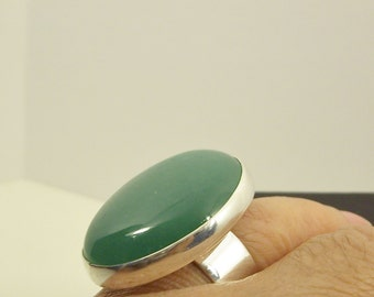 Oval Green Aventurine Silver Ring handmade with a large green gemstone as statement, cocktail and fashion accessory