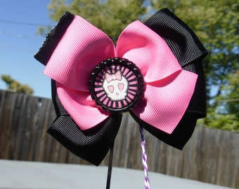 Black and Pink Girly Skull Hair Bow