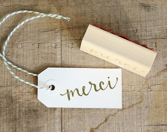 Merci Wood Mounted Rubber Stamp, For Thank You Cards, Wedding Favor Tags, and More!