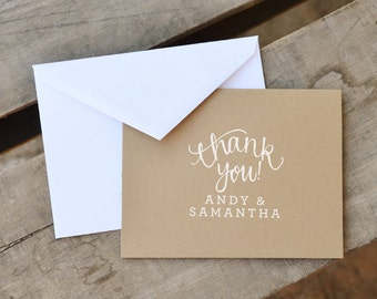 Thank You Rubber Stamp, With or WIthout Personalized Name. Fun Bubbly Calligraphy for Weddings or Personal Use.