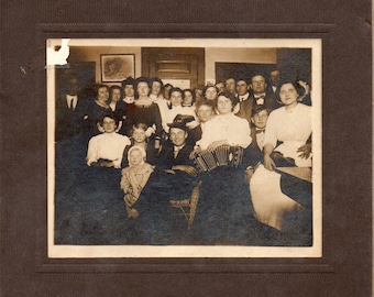 Antique Photo of Large Group Woman with Accordion, Violin