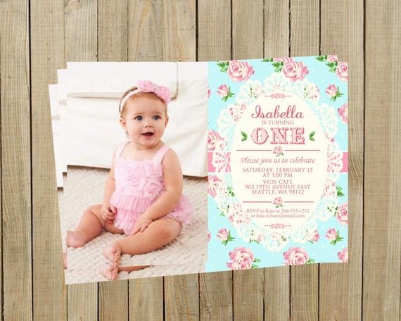 Shabby Chic Birthday Invitation Pink and Blue Printable