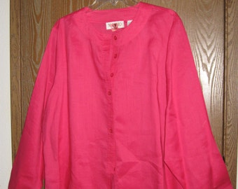 TOTOnKO Linen Pink Magenta Blouse
