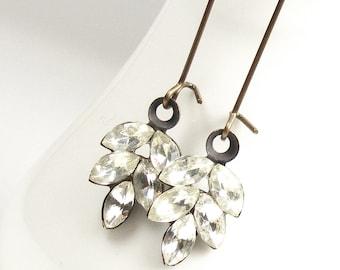 Vintage Crystal Leaf Earrings, Art Deco Style Long Drop Earrings, Handmade Vintage Style Jewellery