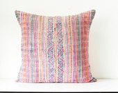 """RARE VINTAGE HMONG Textile Batik & Embroidered Ethnic Made A Piece Of Tradition Costume Pink Boho Bohemian Pillow Case 20"""" x 20"""""""
