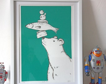 White Bear Screenprint - nursery, baby shower, christening - hand made wall art with a shabby chic vintage retro feel