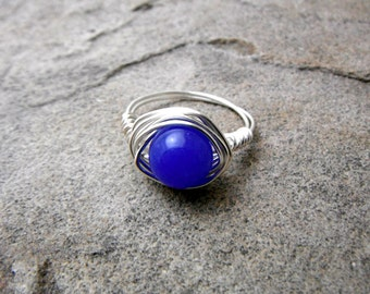 Dark Blue Jade Ring, Wire Wrapped Ring, Blue Ring, Blue Stone Ring, Wire Wrapped Ring, Wire Wrapped Jewelry Handmade, Silver Ring