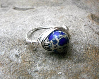 Blue Jasper Ring, Wire Wrapped Ring, Imperial Jasper Ring, Blue Stone Ring, Blue Ring, Wire Wrapped Jewelry Handmade, Gemstone Ring