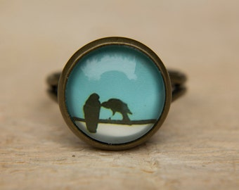 Bird Ring, Bird on a Wire, Blue Ring, Adjustable Ring, Glass Dome Ring, Little Birds, Blue Bird Ring