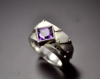 "Silver Industrial Engagement Amethyst Ring ""Interrogendum 2"" 