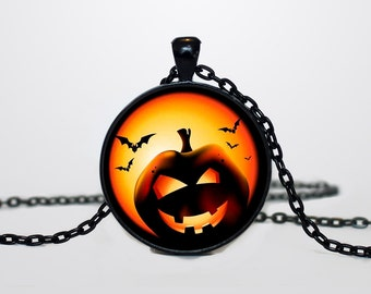 Halloween Pumpkin necklace Halloween Pumpkin pendant  Halloween jewelry Trick orTreat Halloween Pendant Halloween  jewelry black orange