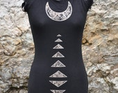 Reversible dress, High Priestess Print, Black Micro Dress, Long Top, Raglan Sleeve Top, Distressed Tee, Bamboo Jersey