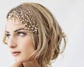 Wedding headpiece, Bridal hair vine, crystal bridal headpiece, pearl bridal hair accessory, crystal net - Ready to ship