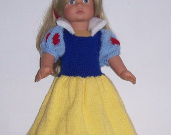 Snow White, dolls clothes PDF knitting pattern for 18 to 19 inch doll, also fits Gotz, American Girl, Our Generationand similar size dolls.