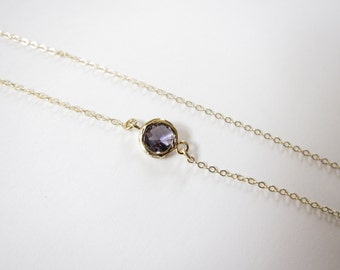 Tiny Amethyst Necklace, Channel Necklace, Dot necklace, Delicate Necklace, Tiny Necklace ( Also available in other stones ), amethyst, bride