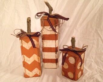 Wood Pumpkins / Fall Decor / Rustic Pumpkins (Set of 3)