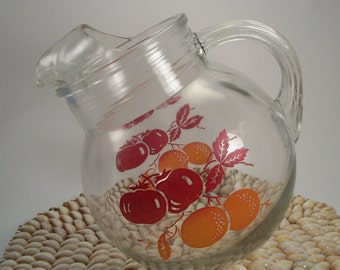 Vintage Round Glass Tip Pitcher, juice pitcher