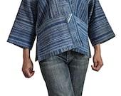Vintage Hmong Hemp Batik Hand Woven Homespun Jacket (JPK-006-01)