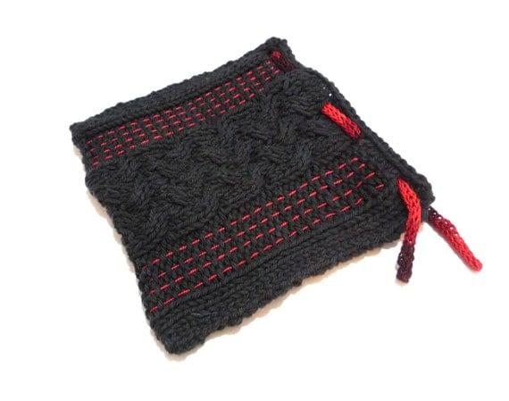 Knit Pattern Tarot Bag : Black and Red Cabled Knit Tarot Bag Tarot Bag by ...