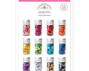 Doodlebug Rainbow Assortment Pack Sequins 12 Colors