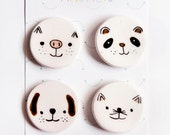 Fridge ceramic magnet - Refrigerator magnet - Animals magnet set - Ceramics & Pottery - Housewarming - Magnets - Kawaii decor magnets